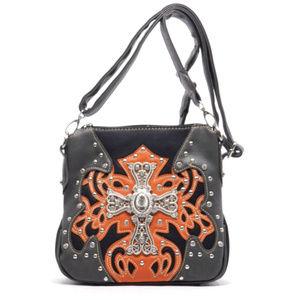 Handbags - Studded Cross Vegan Leather Messenger Bag